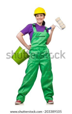 Woman painter isolated on the white background - stock photo