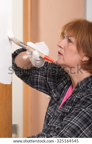 Woman painting door with brush - stock photo