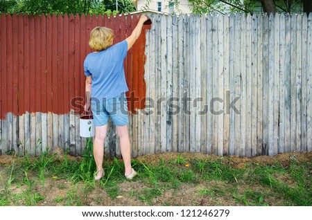 Woman Painting Fence - stock photo