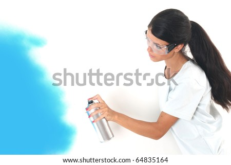 woman paints - stock photo