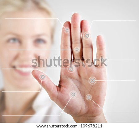 Woman palm scan - stock photo