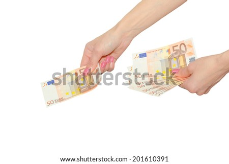 Woman pay with Euro currency banknotes female hands isolated on white - stock photo