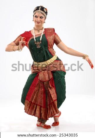 Woman performing bharatanatyam dance - stock photo