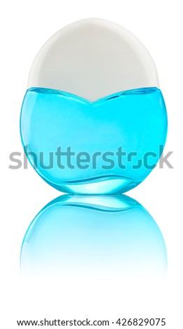Woman perfume light blue bottle with white lid, reflected on the surface and isolated on white background