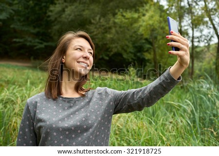 Woman photographed herself in the woods