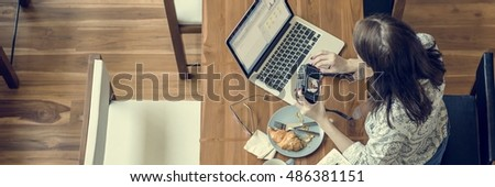 Woman Photographer Connection Laptop Working Concept