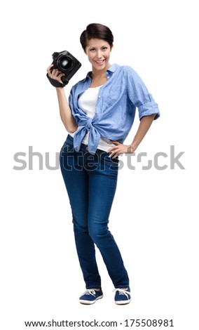 Woman-photographer takes snaps, isolated on a white background - stock photo