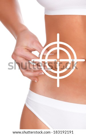 Woman pinches fat on her belly, weight loss concept - stock photo