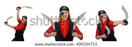 Woman pirate in various concepts on white - stock photo