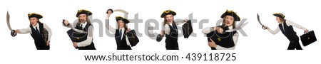 Woman pirate isolated on the white - stock photo