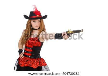 Woman pirate with gun isolated on white