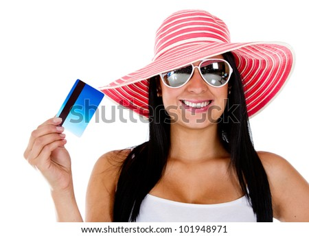 Woman planning her vacations and holding card - isolated over a white background - stock photo