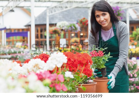 Woman planting a flower in a flower pot in garden centre - stock photo