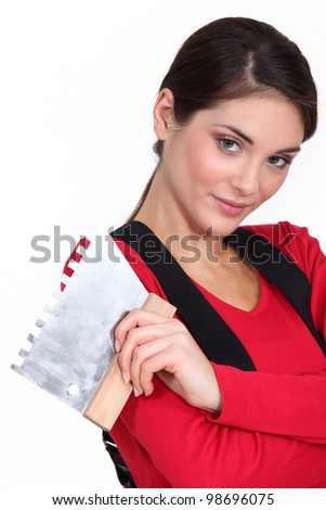 Woman plasterer - stock photo