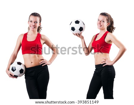 Woman playing football on white - stock photo