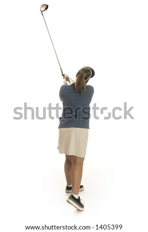 woman playing golf over white - stock photo