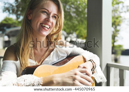 Woman Playing Guitar Leisure Hobby Concept - stock photo