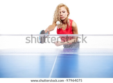 woman playing  ping-pong isolated on white
