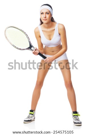Woman playing tennis and waiting for the service. Isolated over white background. - stock photo