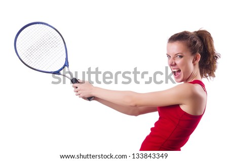 Woman playing tennis on white - stock photo