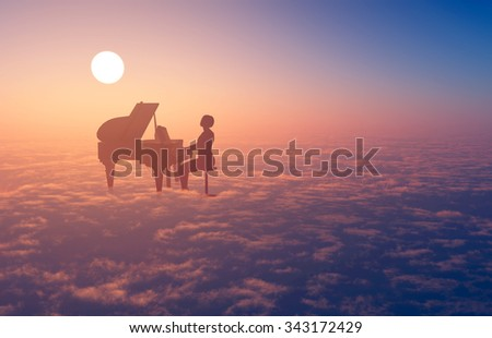 Woman playing the piano in the clouds. - stock photo
