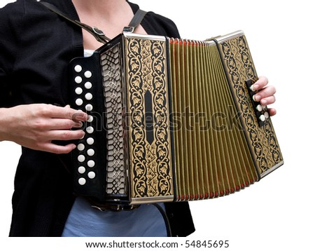 Woman playing traditional accordion isolated on white - stock photo
