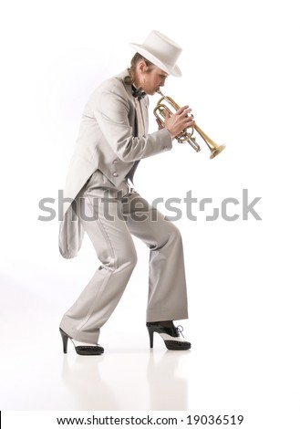 Woman playing trumpet in New Orleans style - stock photo