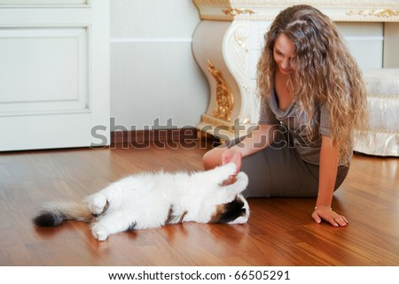 Woman playing with a cat. - stock photo