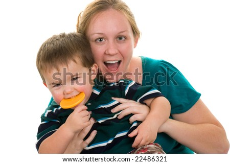 Woman playing with a toddler