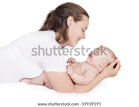 Woman playing with baby, a white background