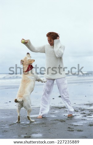 Woman playing with dog on the beach - stock photo