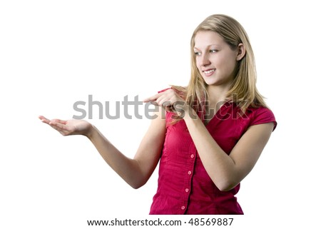 Woman point to something (place your product on her right hand), isolated on white background - stock photo