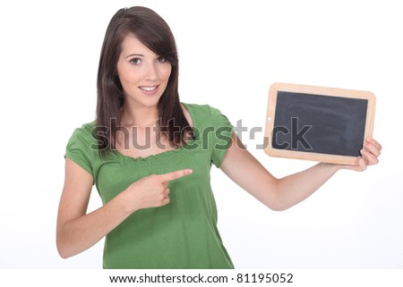 woman pointing a slate - stock photo