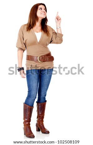 Woman pointing an idea - isolated over a white background - stock photo