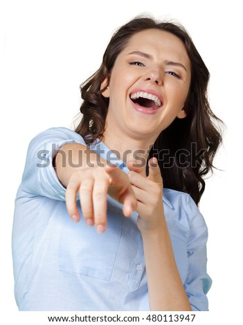 woman pointing laughing you stock photo 480113947