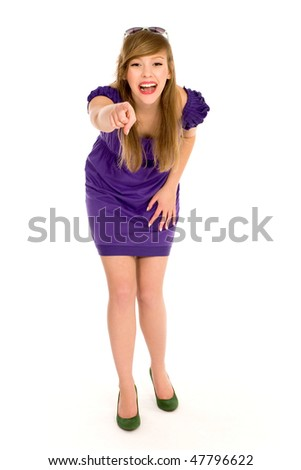 Woman pointing at you - stock photo