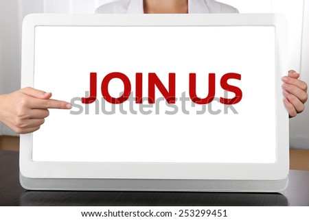 Woman pointing on tablet PC screen, Job searching concept - stock photo