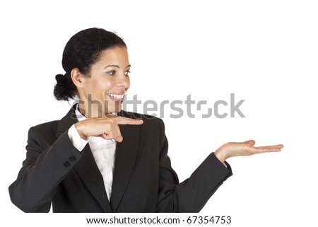 woman points with finger at palm with space for advertisement. Isolated on white background. - stock photo