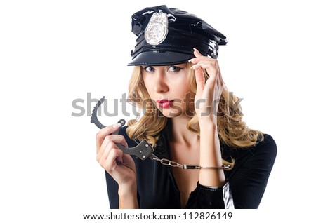 Woman police in the concept - stock photo