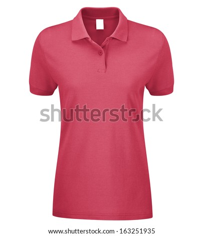Woman Polo Shirt pink isolated on white - stock photo