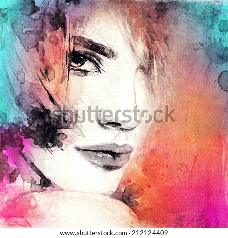 Abstract Watercolor Portraits Woman Portrait Abstract