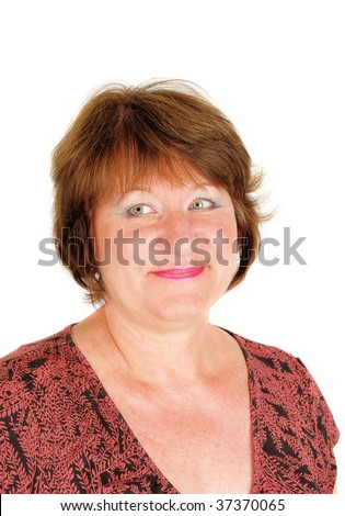 Woman portrait in  fifties with a big happy smile photographed on a white background.