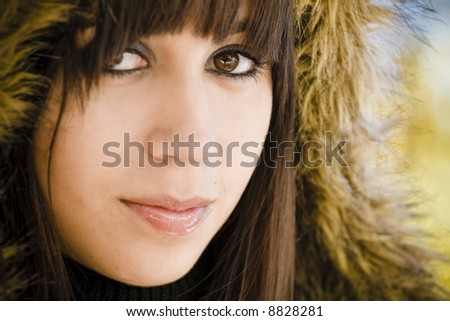 Woman portrait in winter fashion.