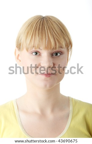 Woman portrait isolated over a white background - stock photo