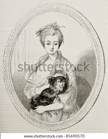 Woman portrait kept in Angers museum. Created Germain after painting of Greuze, published on Magasin Pittoresque, Paris, 1842 - stock photo