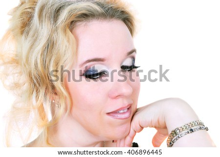 woman, portrait of girl with beautiful makeup looking down, isolated on white background