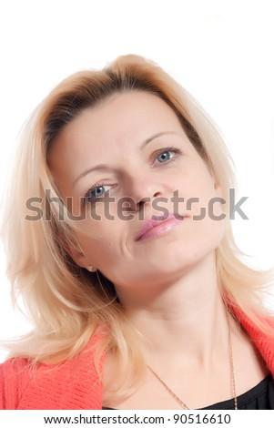 woman portrait on white background - stock photo