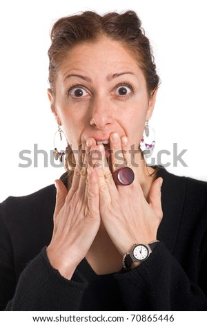 Woman portrait on white background. Surprise expression.