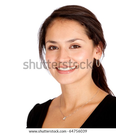 Woman portrait smiling - isolated over a white background - stock photo