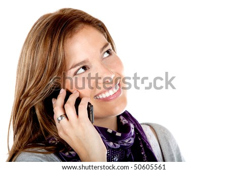 Woman portrait talking on the phone isolated over a white background